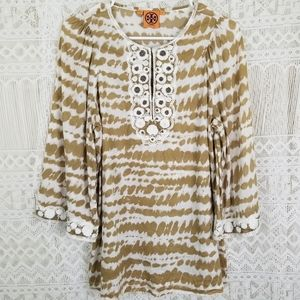 Tory Burch Kafton Beaded Floral Embroidered Tunic